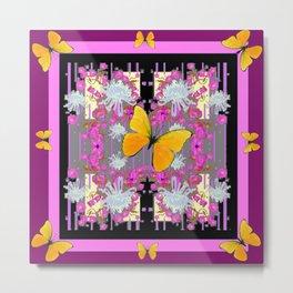 Pink-Purple Yellow Butterflies  & Flowers Garden Art Metal Print