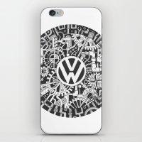 volkswagen iPhone & iPod Skins featuring Volkswagen Steampunk Mechanical Doodle by Squidoodle