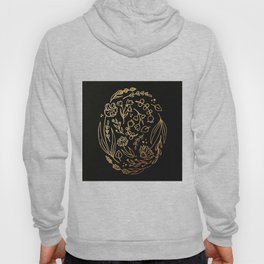 Golden Autumnal Equinox Oval Shaped Floral Illustration Hoody