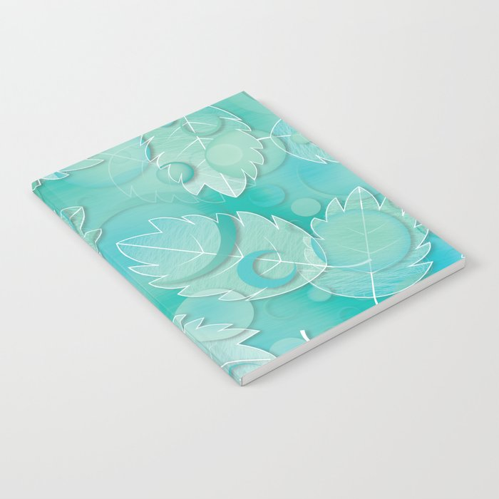 Floating Leaves Pattern IV - Winter, Ice Teal Notebook