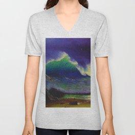 Emerald Sea by Albert Bierstadt Unisex V-Neck