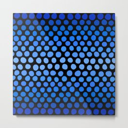 China Blue and Azure Blue Dots Ombre Metal Print