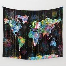 world map mandala black 1 Wall Tapestry