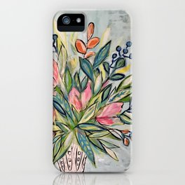 grey floral iPhone Case