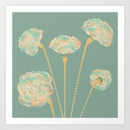 Line Carnations 1a Art Print
