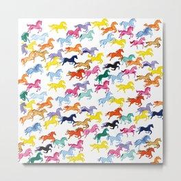 Prancing Rainbow Ponies Metal Print