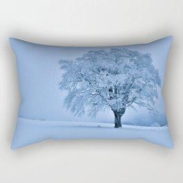 Solitary Snow Tree - Landscape Photograhpy Rectangular Pillow