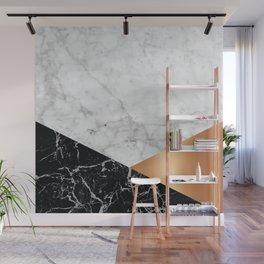 Geometric White Marble - Black Granite & Rose Gold #715 Wall Mural
