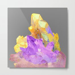 BOHO YELLOW & PURPLE QUARTZ CRYSTALS GREY ART Metal Print
