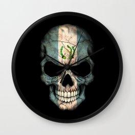 Dark Skull with Flag of Guatemala Wall Clock