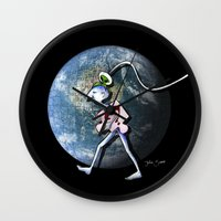 destiny Wall Clocks featuring Destiny by Julia Sanz