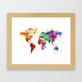 Watercolor World Map Framed Art Print