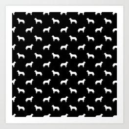 Australian Cattle Dog silhouette pattern portrait dog pattern black and white Art Print