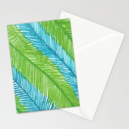 Blue and Green Palm Leaves Stationery Cards