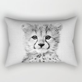Baby Cheetah - Black & White Rectangular Pillow