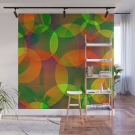 Abstract soap of blue and green bright circles and bubbles on a luminous background. Wall Mural
