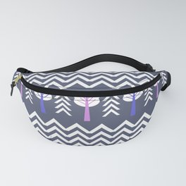Trees and chevron in white Fanny Pack
