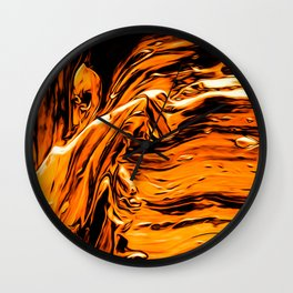 Abstract Gold Fire Paint I Wall Clock