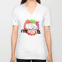 nirvana V-neck T-shirts featuring nirVANa by nick inglis