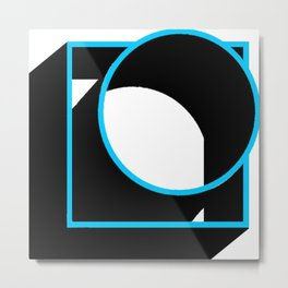 Tube in a Cube White Metal Print