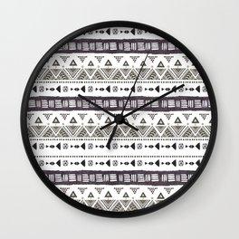 Native American Ornaments Watercolor Pattern Brown Wall Clock