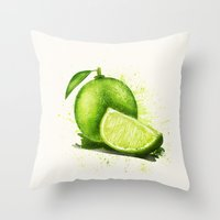 lime Throw Pillows featuring lime by Zazie-bulles