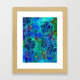 In Too Deep - Blue Abstract Flowers Framed Art Print