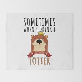 Otter Marten Weasel Wine Drinking Funny Animal Gift Throw Blanket
