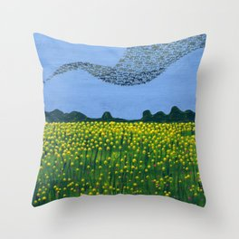 The Meadow and the Swarm Throw Pillow