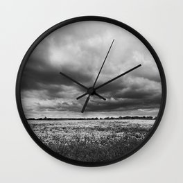 Landscape Photography | Dandelion Field | Canada | Black and White | black-and-white | bw Wall Clock