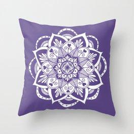 Ultraviolet Flower Mandala Throw Pillow