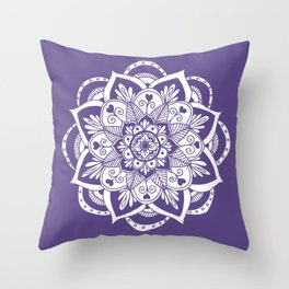 Ultraviolet Flower Mandala Throw Pillow