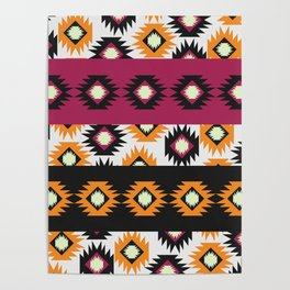 Ethnic shapes in purple and yellow Poster