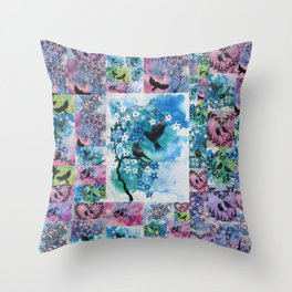 birds in watercolour watercolor 2 two birds green blue romantic japanese style painting  Throw Pillow