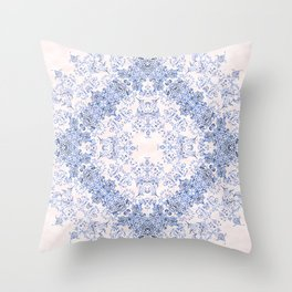 small sarasa floral in blue Throw Pillow