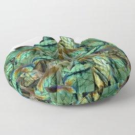 Labradorite Landscape - Gemstone Scene - Iridescent Stones Floor Pillow