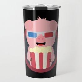 Cinema Pig with Popcorn Travel Mug