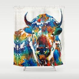 Colorful Buffalo Art - Sacred - By Sharon Cummings Shower Curtain