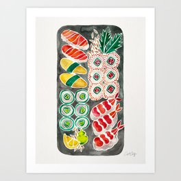 Sushi Collection – Black Platter Art Print