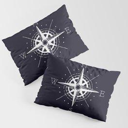 Navy Nautical - White Compass Pillow Sham