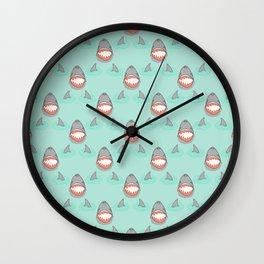 Shark Heads & Fins in Grey on Aqua w/ Ripples Wall Clock