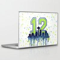 seahawks Laptop & iPad Skins featuring Seattle 12th Man Art Skyline Watercolor  by Olechka