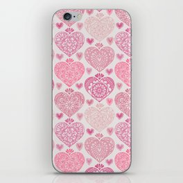 Pink Heart Valentine's Doilies Pattern iPhone Skin