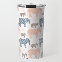 Pink and Blue Kids Elephants Silhouette Seamless Travel Mug