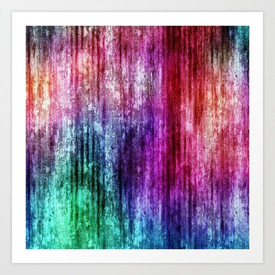 Melting Rainbow Watercolor Abstract Art Print