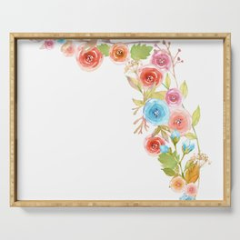 Florida Watercolor Flowers Serving Tray