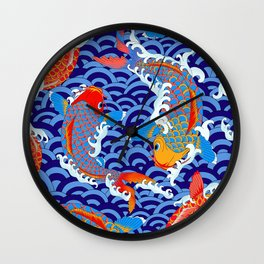 Koi fish / japanese tattoo style pattern Wall Clock