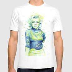 Marilyn Portrait Watercolor Painting Actress Old Hollywood White MEDIUM Mens Fitted Tee