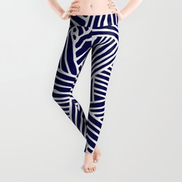 Abstract navy blue & white Lines and Triangles Pattern - Mix and Match with Simplicity of Life Leggings