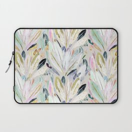 Pastel Shimmer Feather Leaves on Gray Laptop Sleeve